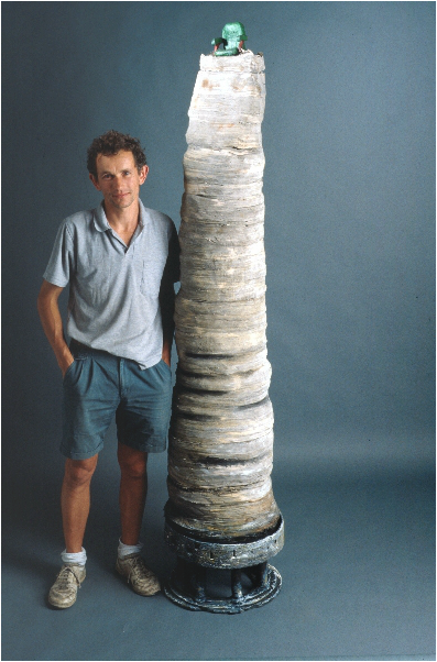 Picture: An early work created by Graham Hay was a 2 metre high pile of recycled paper called In Tray.