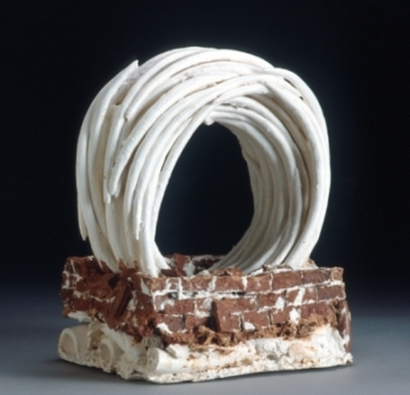 Picture: Spin (2001), earthenware & terracotta ceramic paper clay, 37 x 35 x 22 cm, photo: Victor France, purchased by Fran Dennis. All parts dried, dipped and stuck together with earthenware paper clay