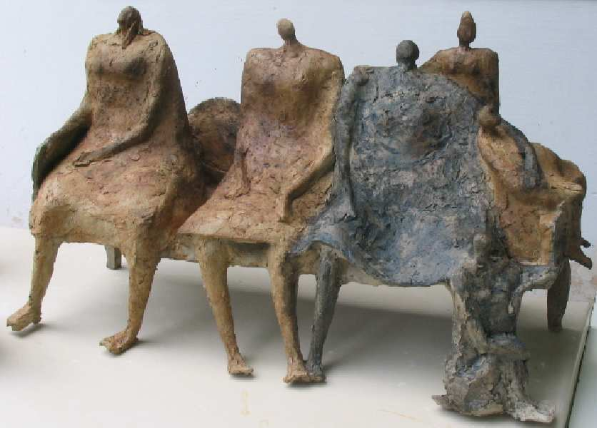 Elisabeth Le Rétif (France)  hand building large, figurative forms  fast fire decorating (similar-but different to Raku)